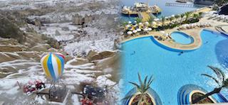 Alanya'da deniz Kapadokya'da kar keyfi!
