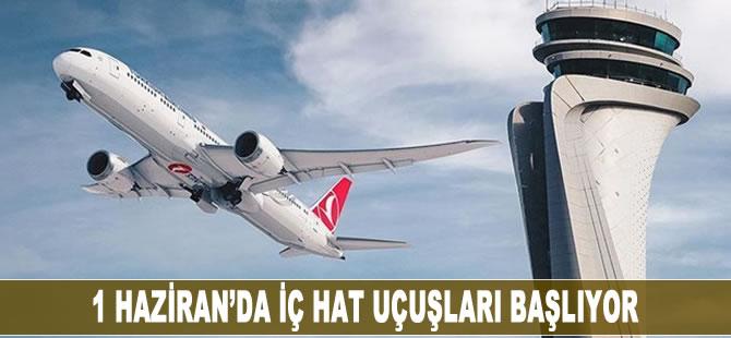 1Haziran'da iç hat uçuşları başlıyor