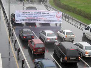 E-5 Karayolu'nda akaryakıt protestosu