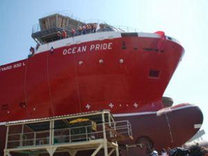 Ocean Pride gemisi törenle denize indirildi