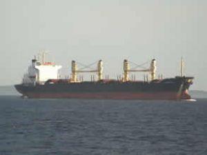 Akburun'da yük gemisi karaya oturdu