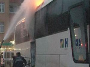 Ordu'da Havaş otobüsü park halinde yandı