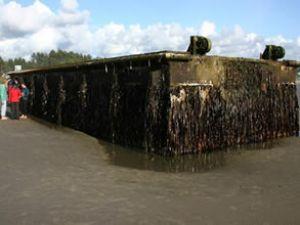 165 tonluk iskele sürüklendi, Pasifik'i geçti