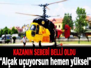 Helikopter çam ağacına takılıp düşmüş