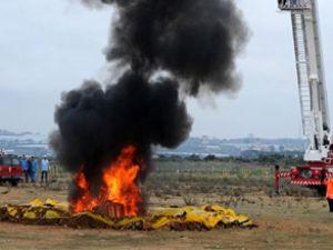 Yangın çıkan uçağa 70 saniyede ulaşıldı