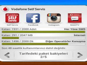 Vodafone widget ile kontrol kullanıcıda