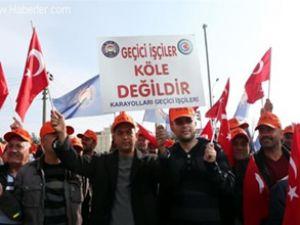 Antalya'da karayolu işçilerinden eylem