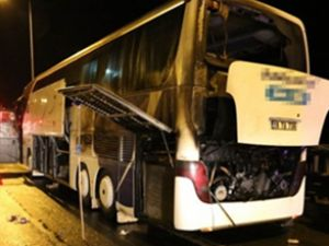 TEM otoyolunda yolcu otobüsünde yangın