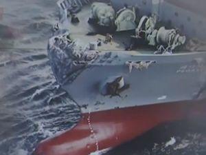 Tokyo Körfezi'nde iki yük gemisi çatıştı