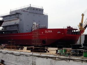 M/V OLIVIA, 29 Mart'ta denize iniyor
