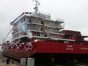 Konaklama gemisi 'Olivia', törenle denize indirildi