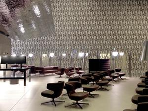 Qatar Airways'ın bekleme salonu dikkat çekiyor