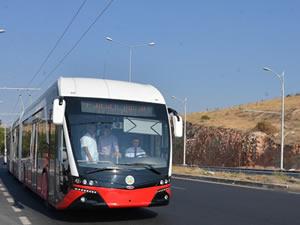 Trambus Malatya'da test sürüşüne başladı