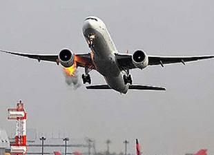 Motoru yanan uçak hizmetten çıkartıldı