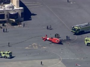 Helikopter yan yattı