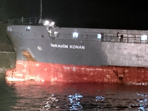 Amonyum sülfat yüklü gemi Çanakkale Boğazı'nda karaya oturdu