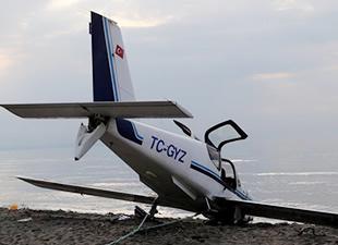 Samsun'da küçük uçak denize acil iniş yaptı