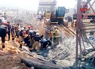 Viyadük inşaatında kaza: İşçiler enkaz altında