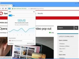 Opera tarayıcısı yerleşik VPN desteği ile yayınlandı