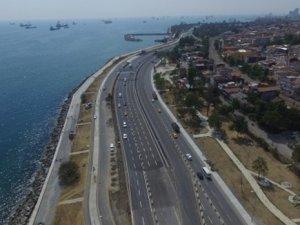 Avrasya Tüneli Projesi'nde son durum havadan görüntülendi