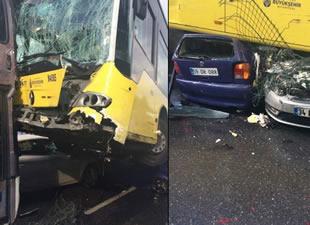 Metrobüs yolunda feci kaza: 10 yaralı